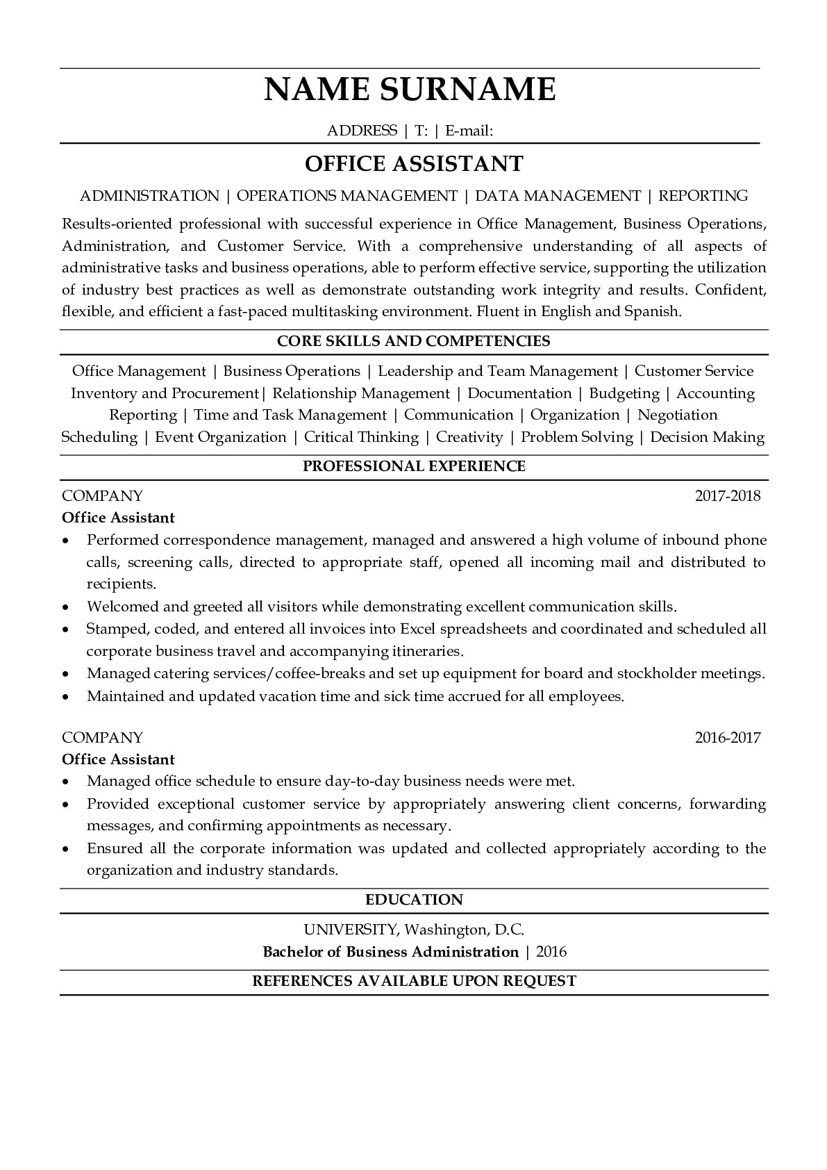 Resume for Office Assistant