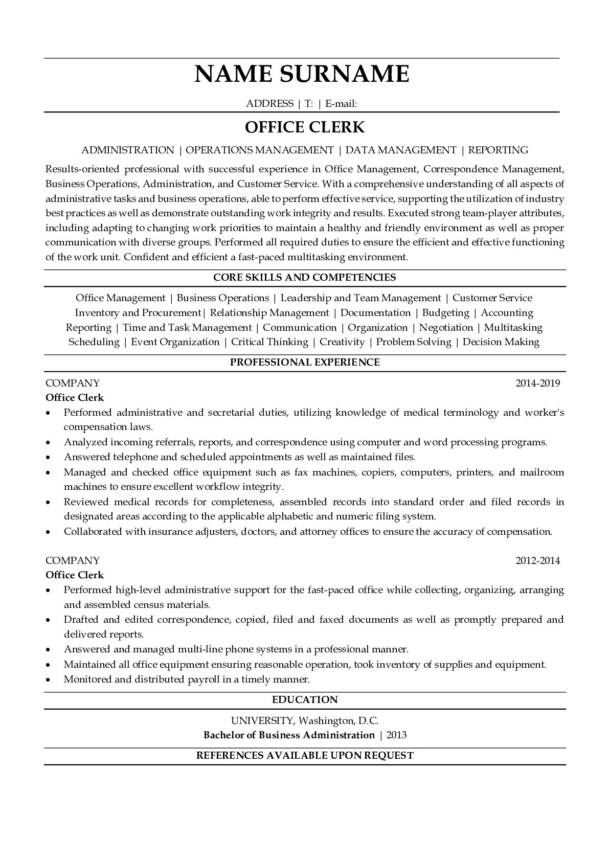 Resume for Office Clerk