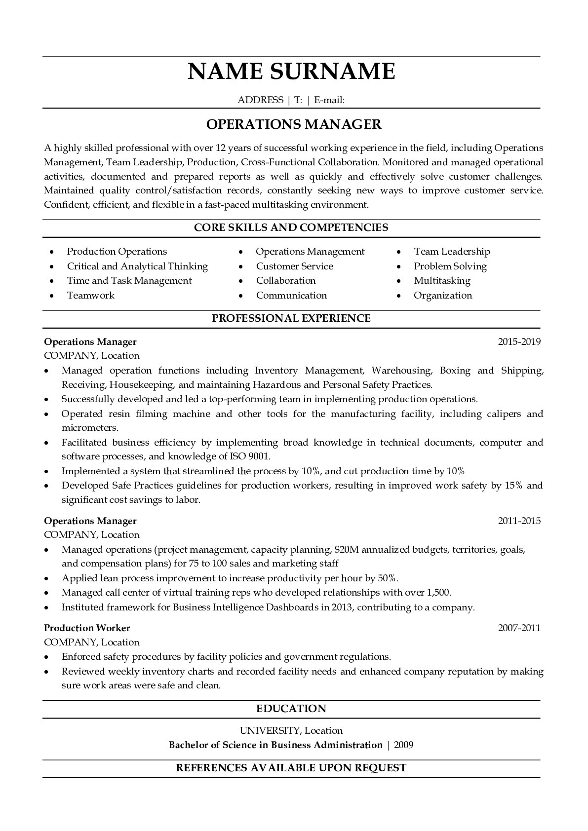 Resume Example for Operations Manager