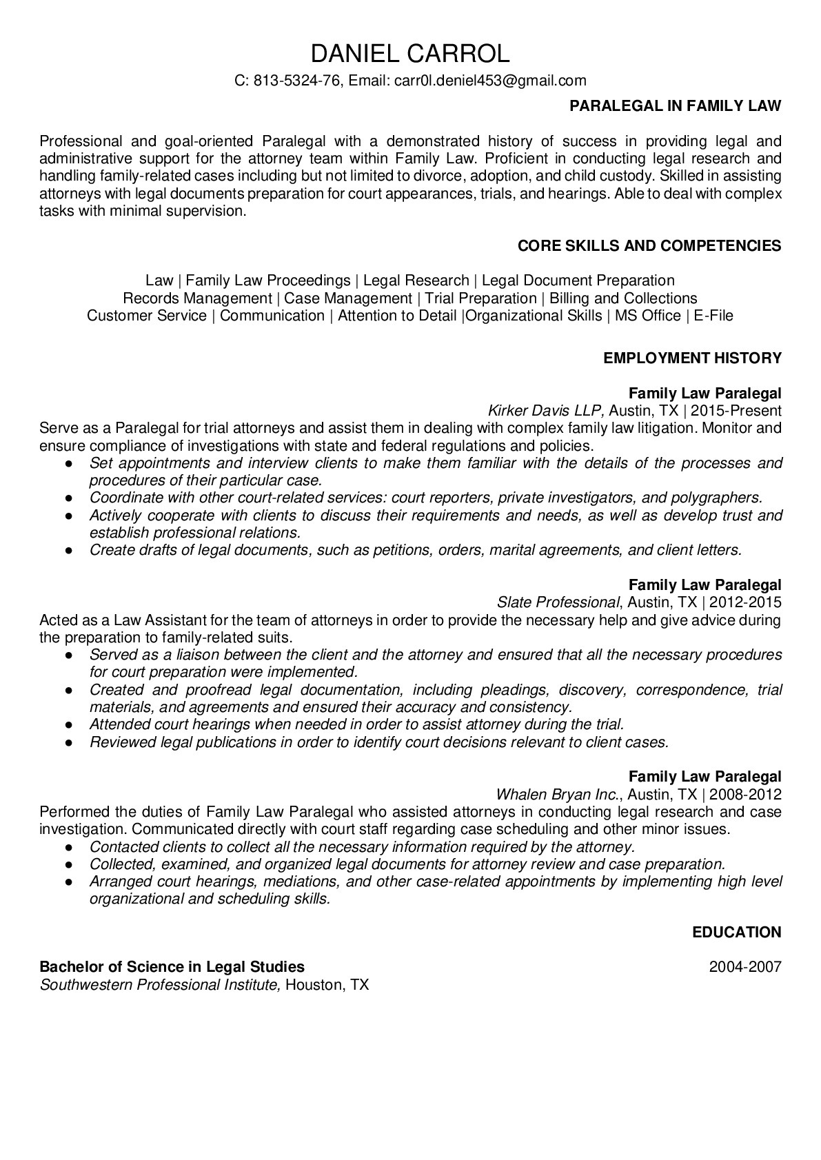 Resume for Paralegal