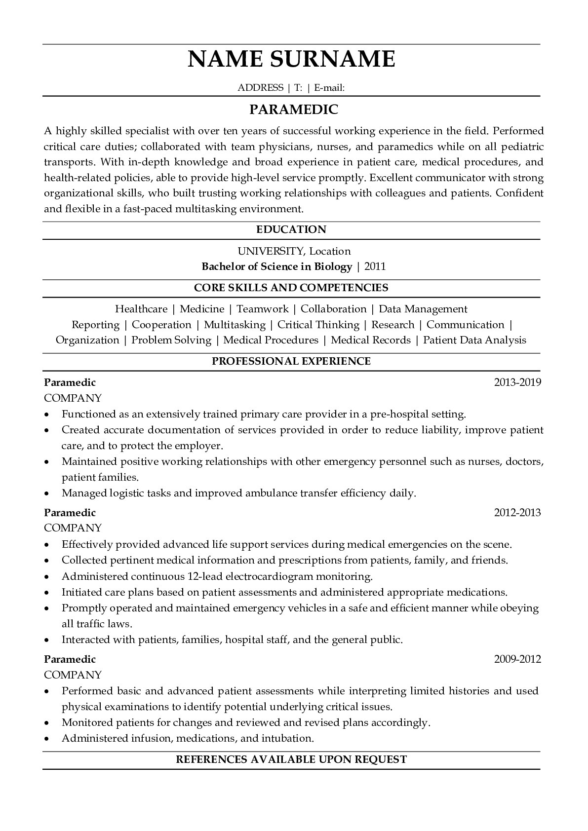 Resume Example for Paramedic