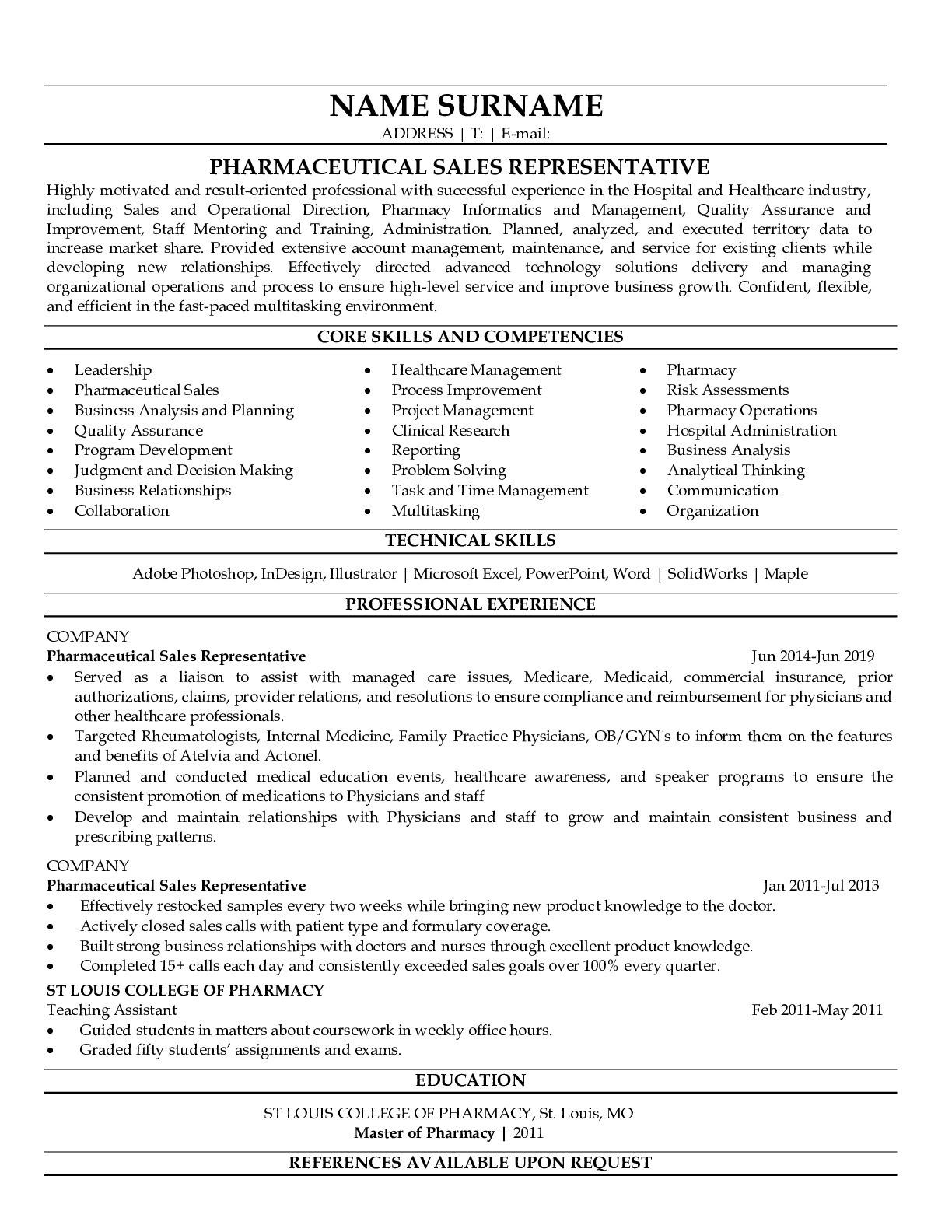 Resume Example for Pharmaceutical Sales Representative