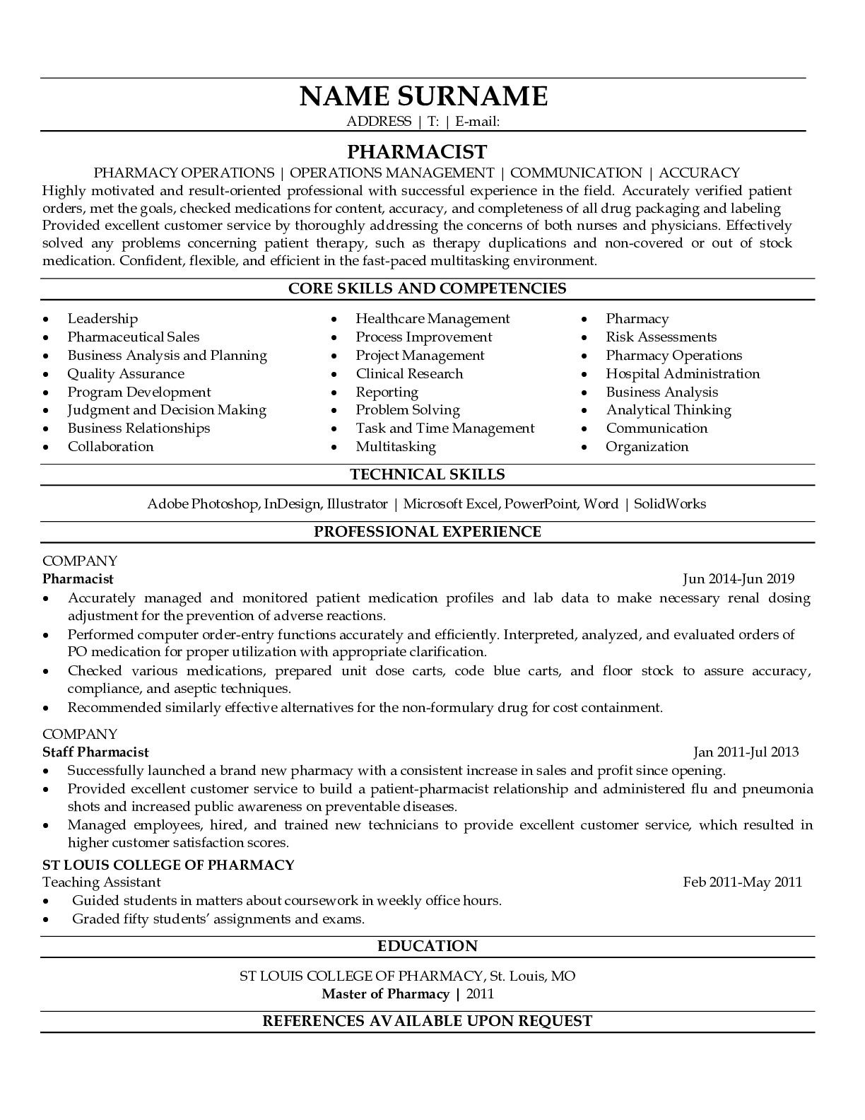 Resume Example for Pharmacist