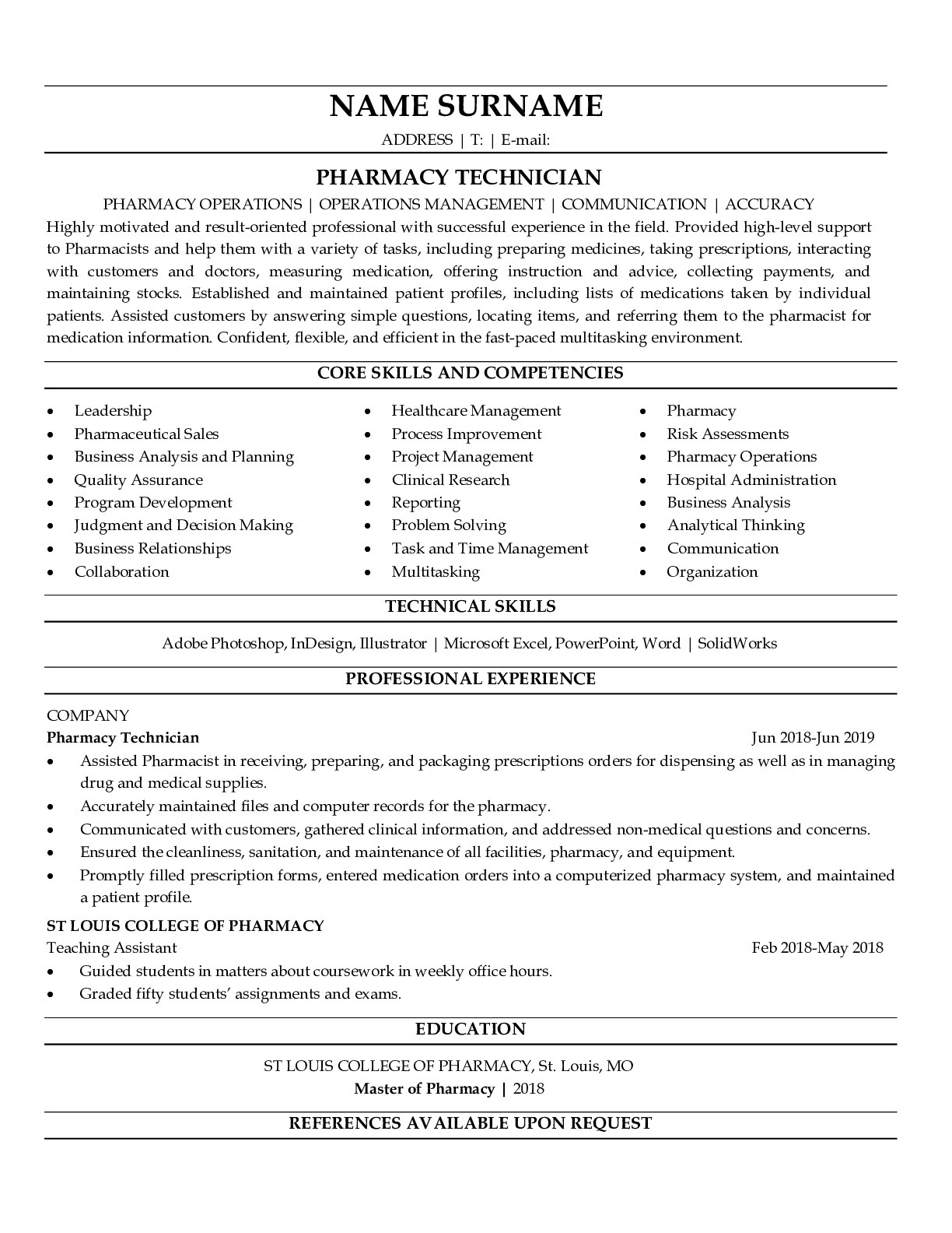 Resume Example for Pharmacy Technician