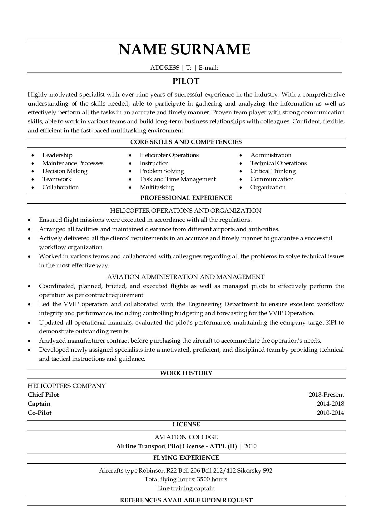 Resume Example for Pilot