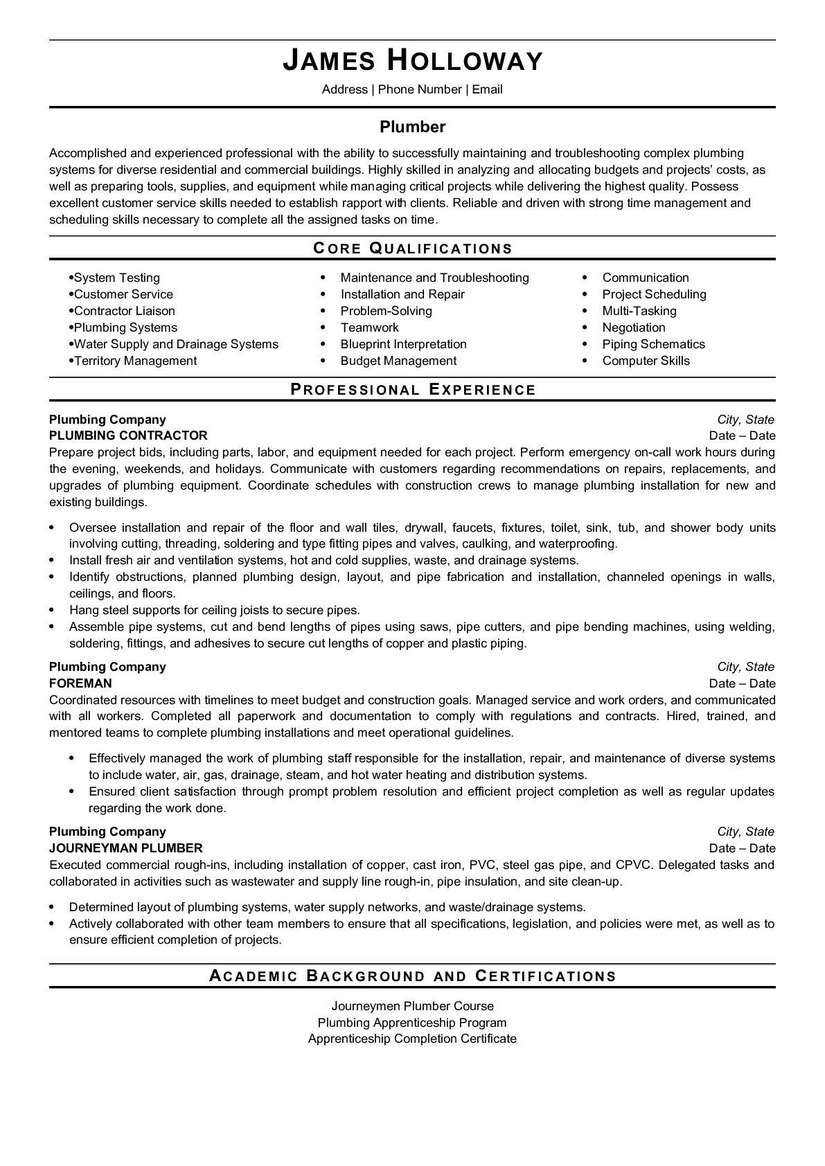Resume Example for Plumber