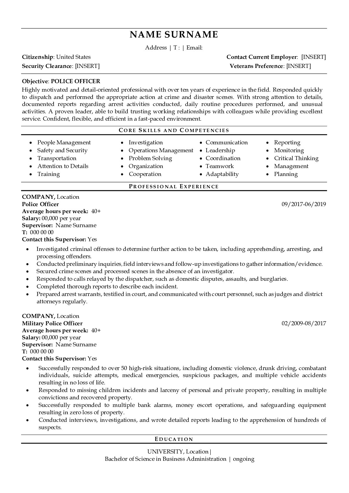 Resume Example for Police Officer