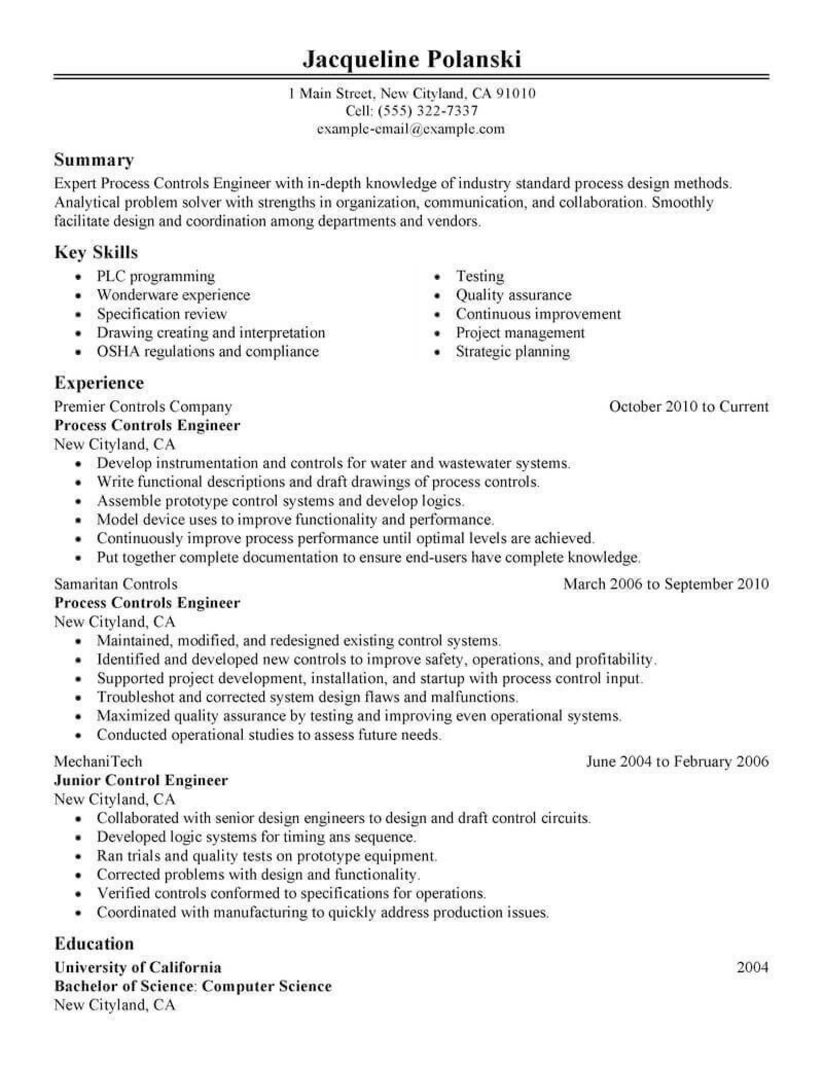Resume Example for Process Engineer