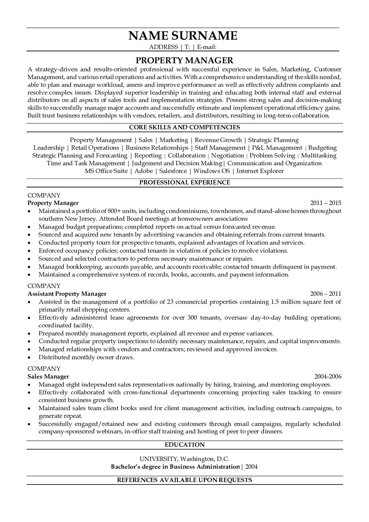 Resume Example for Procurement Manager