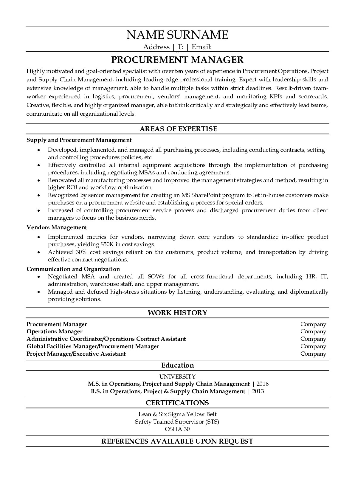 Resume Example for Property Manager