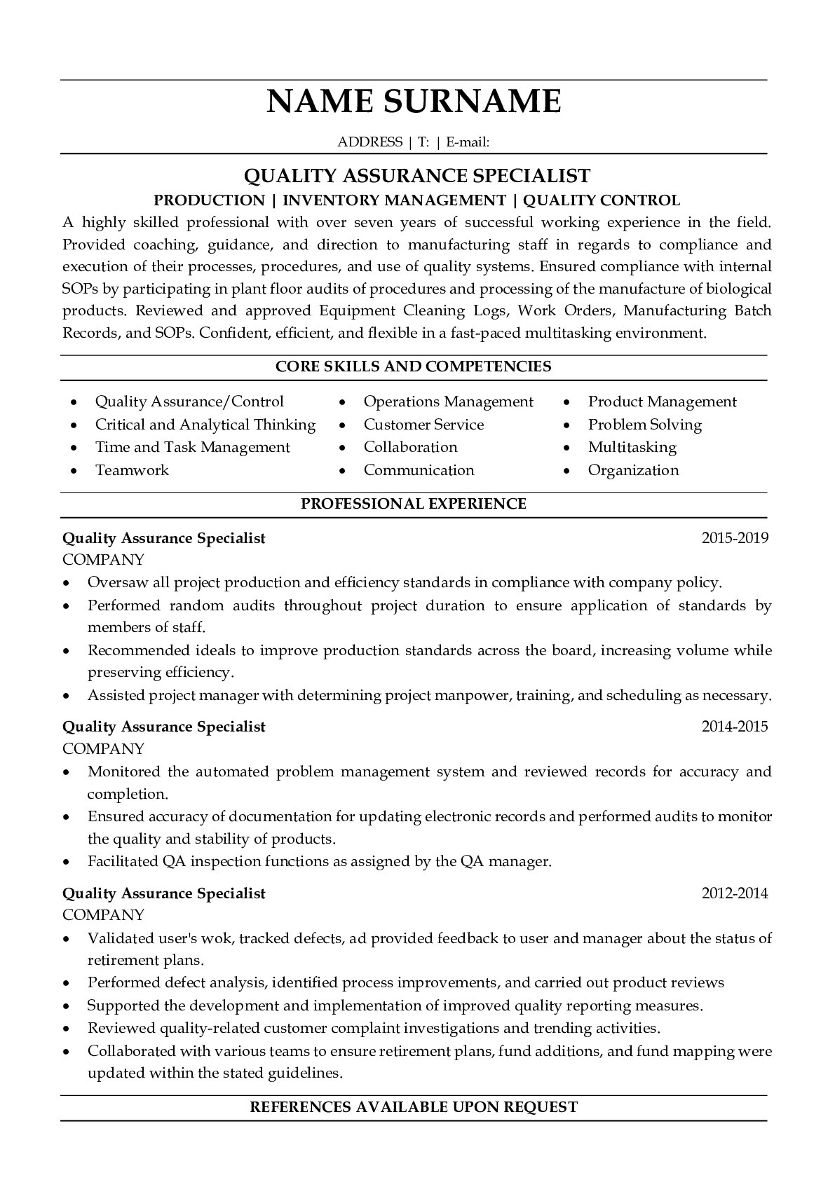 Resume Example for Quality Assurance