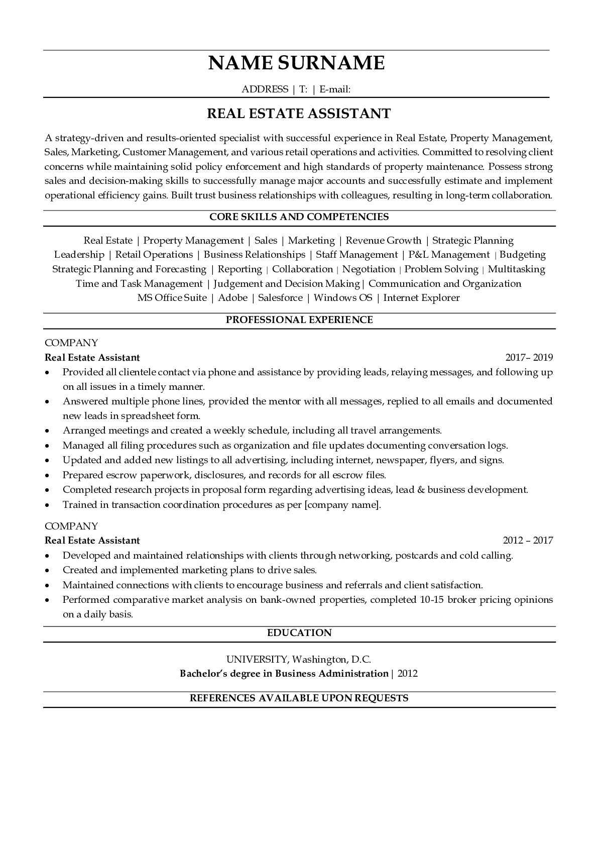 Resume Example for Real Estate Assistant