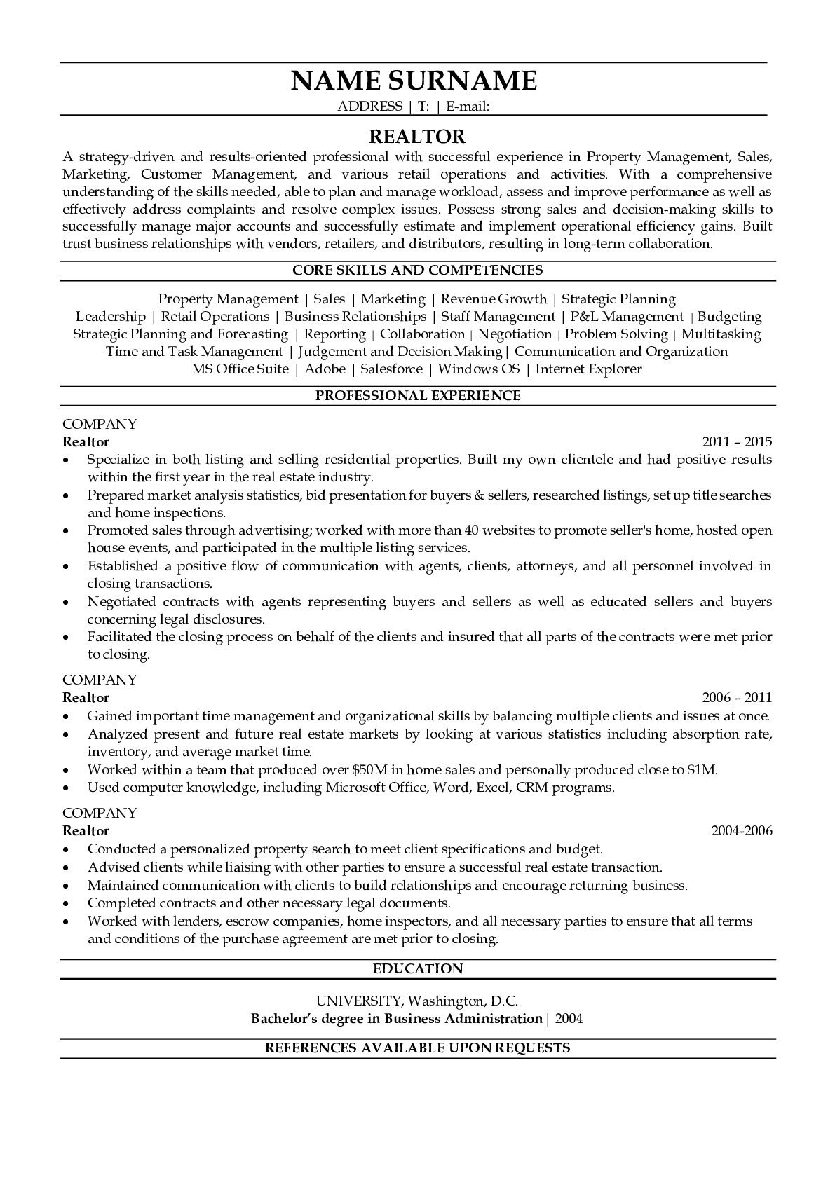 Resume Example for Realtor