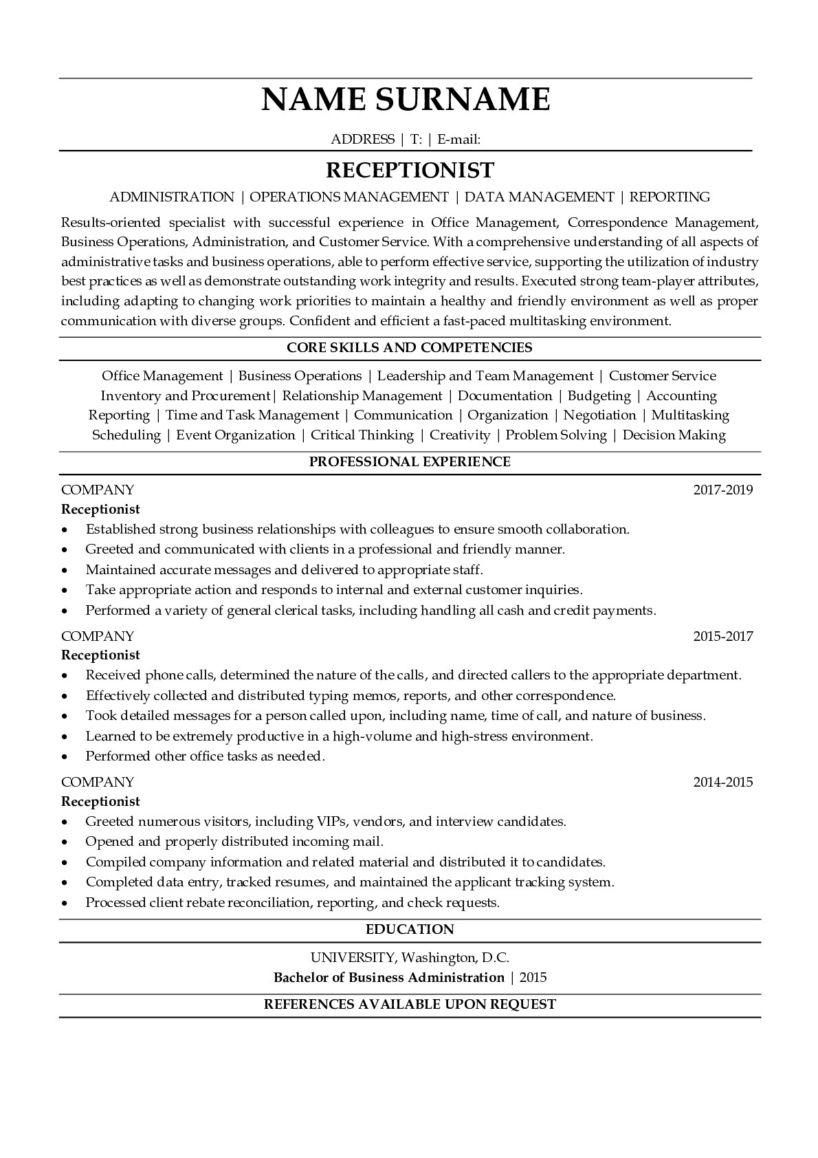 Resume for Receptionist