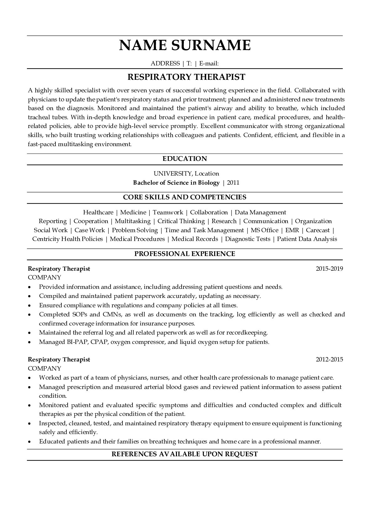 Resume Example for Respiratory Therapist