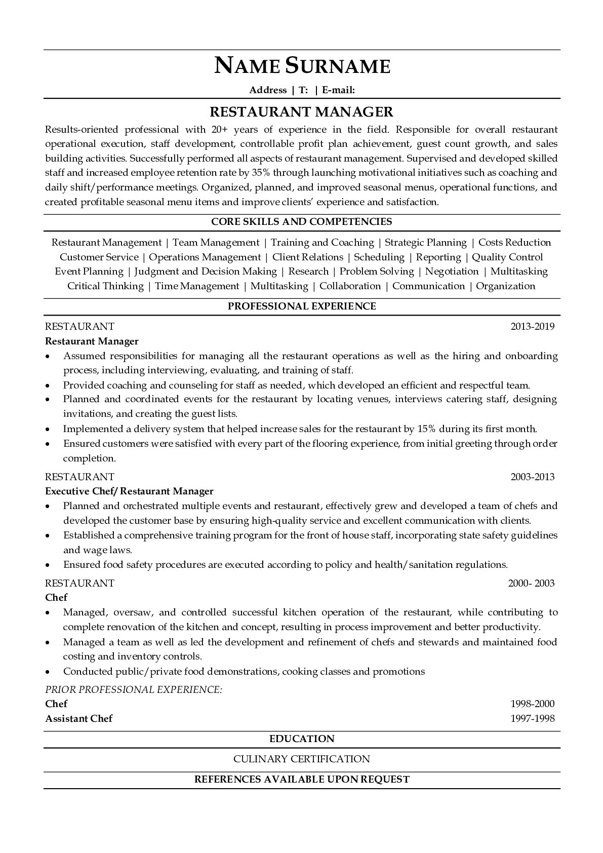 Resume Example for Restaurant Manager