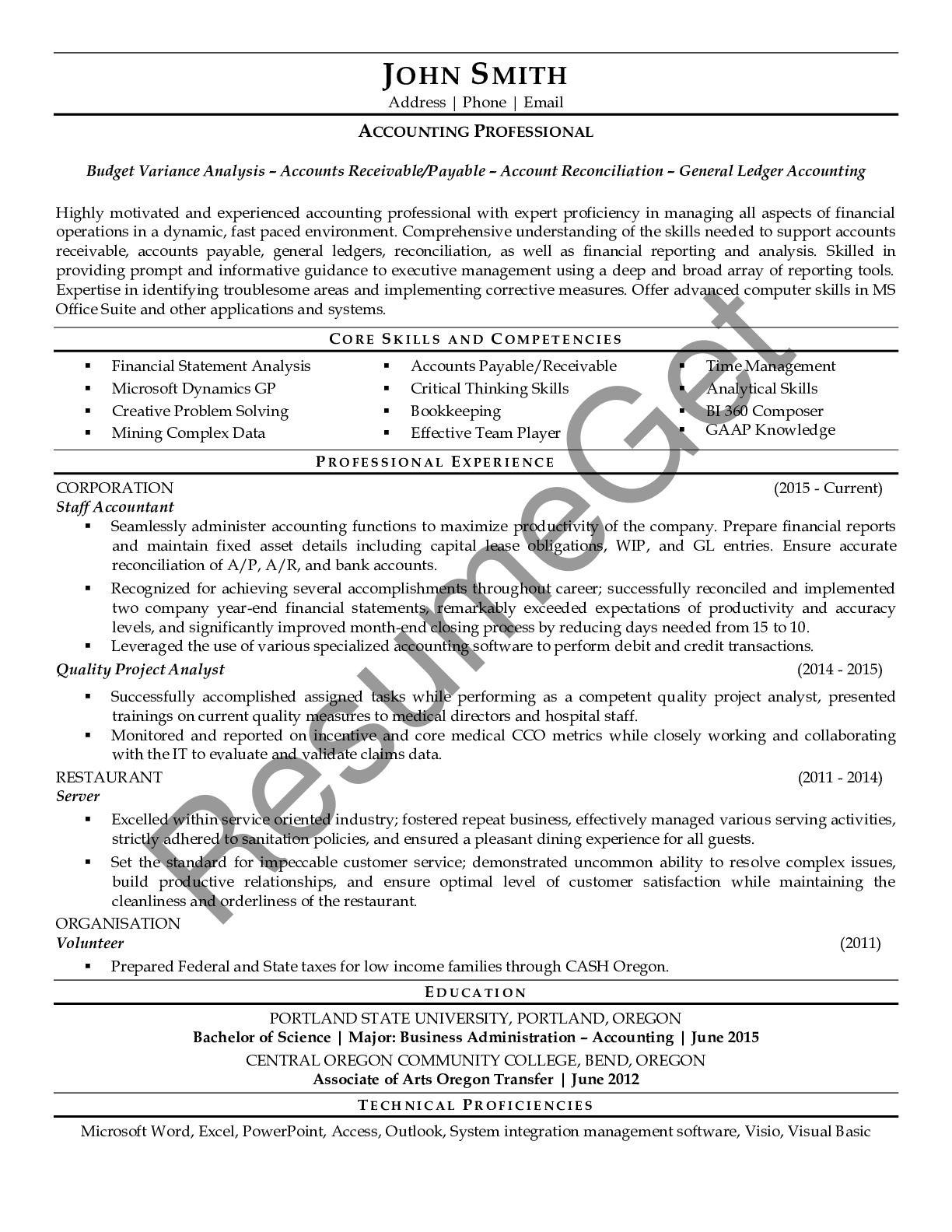 Resume Example for Accountant