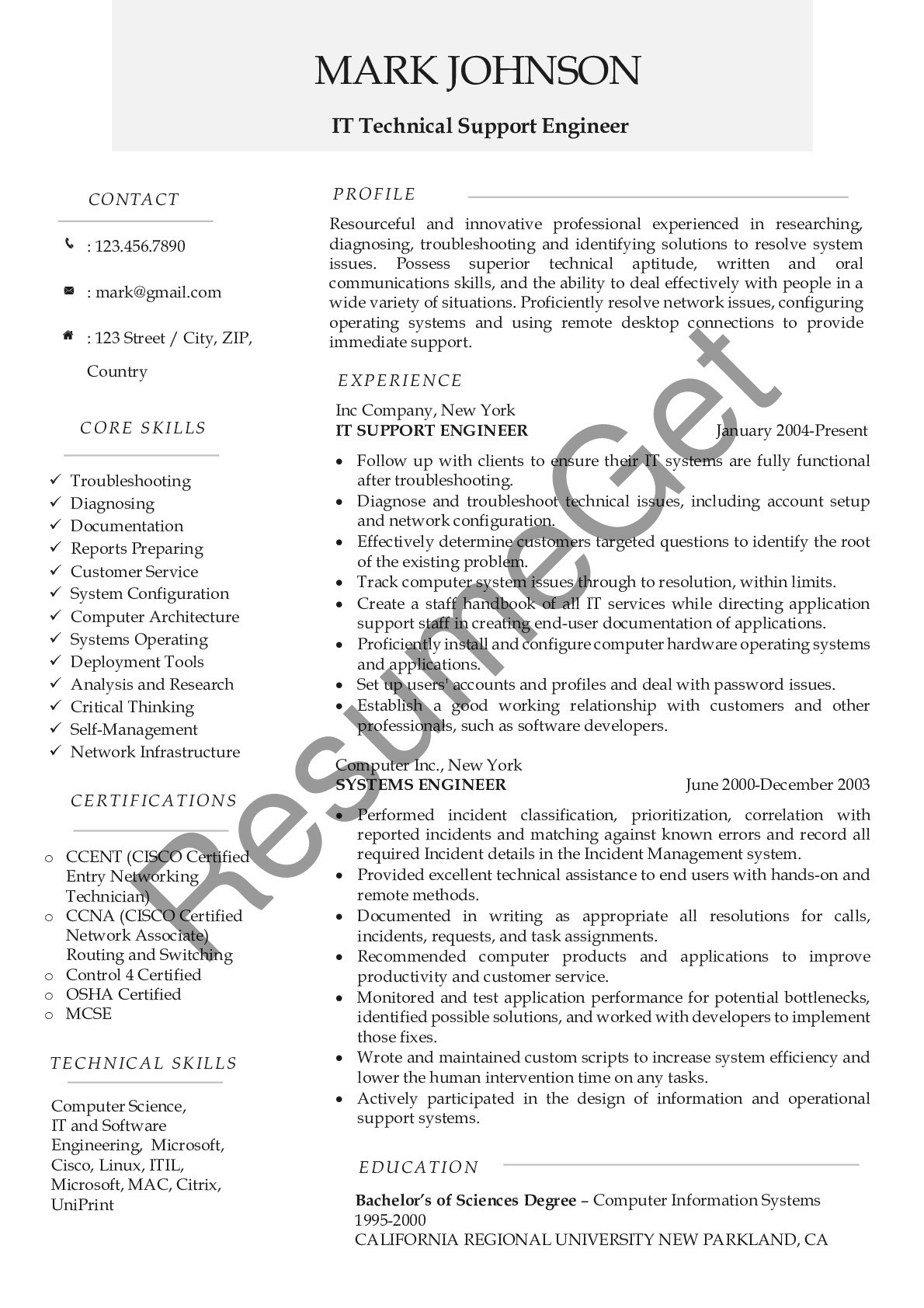 Resume Example for IT Technical Support Engineer