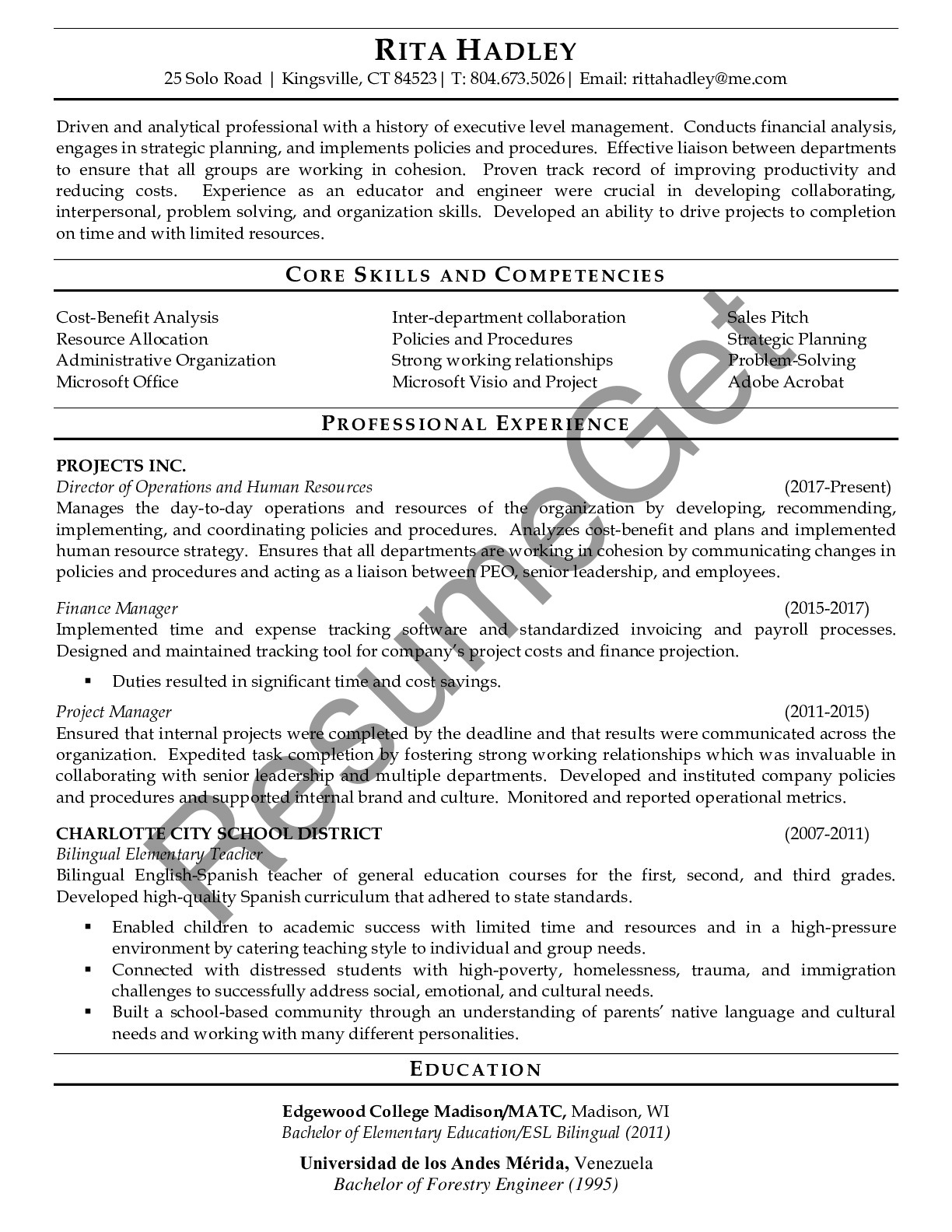 Resume Example for Manager