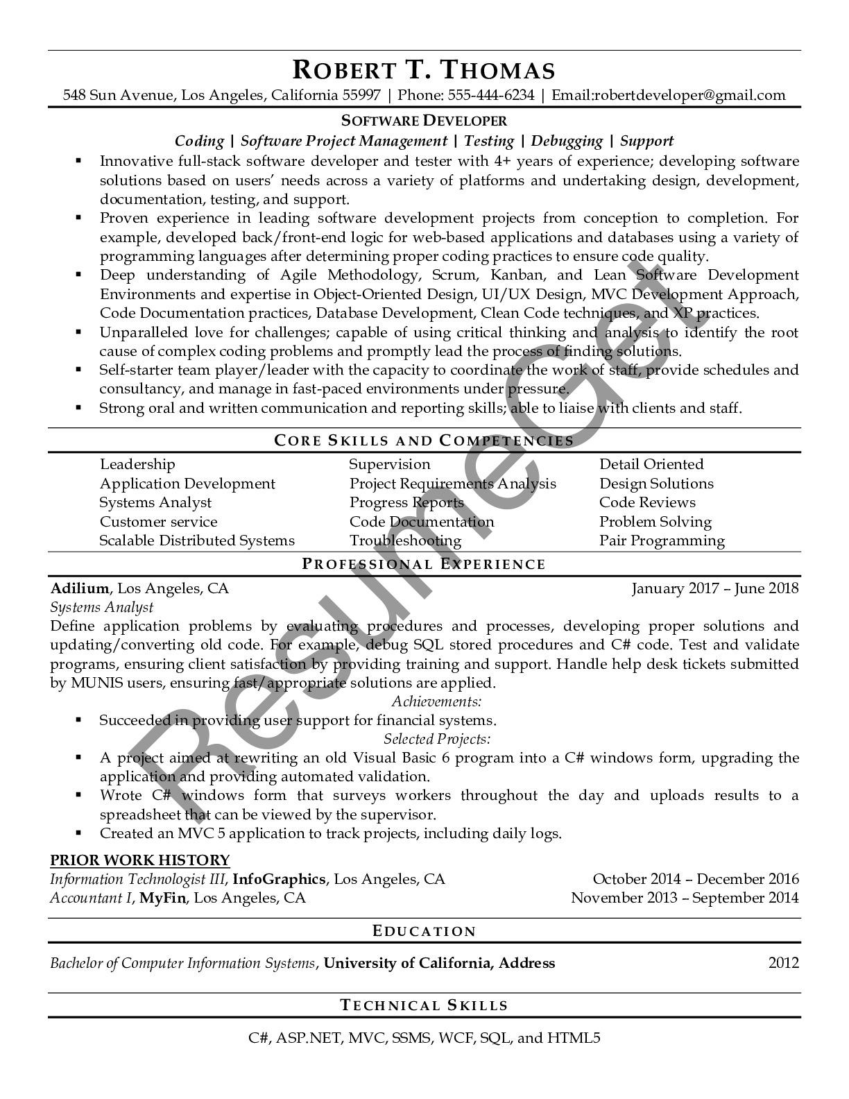 Resume Example for Software Developer