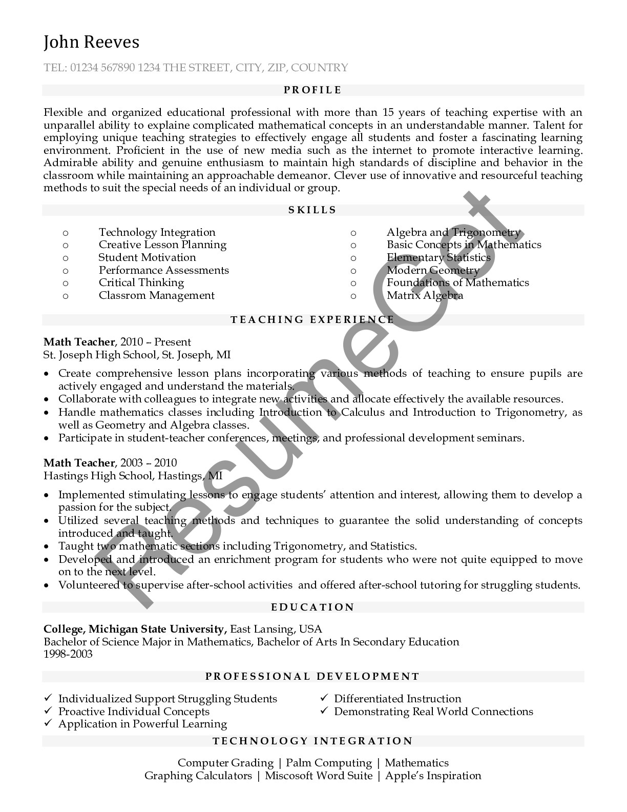 Resume Example for Teacher