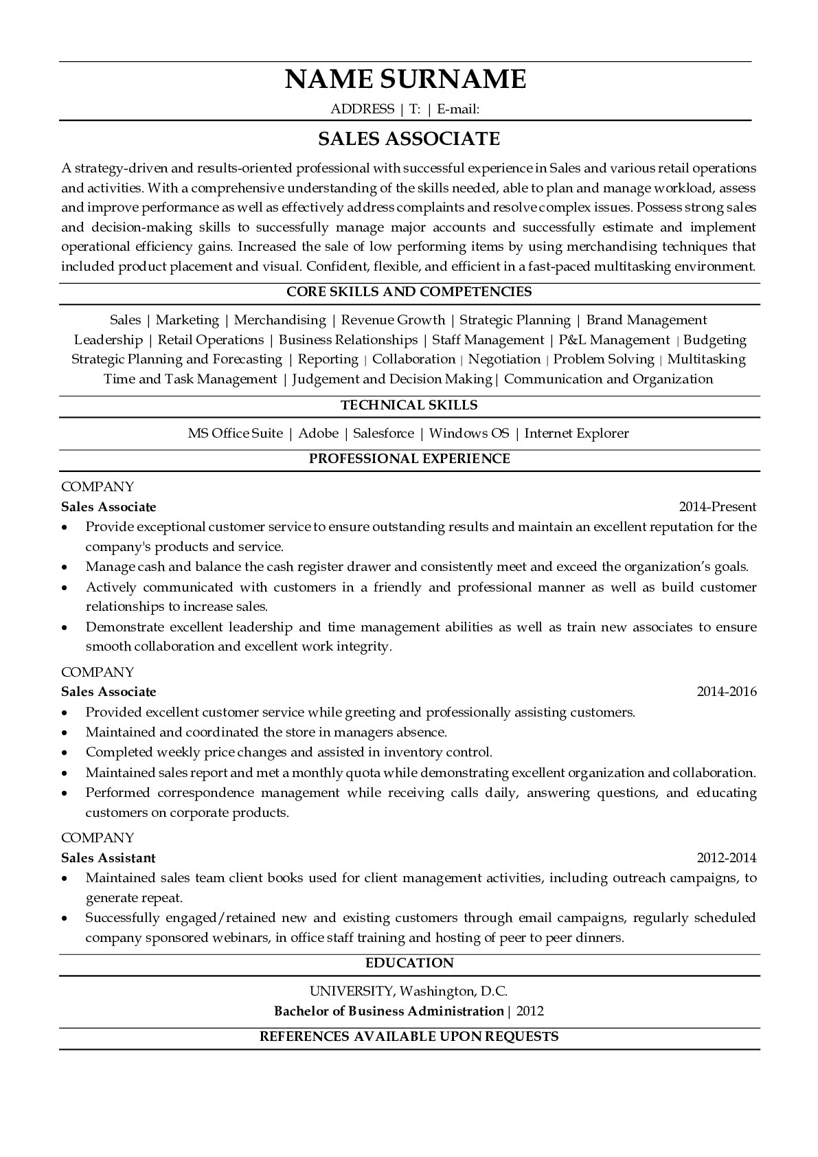 Resume Example for Sales Associate