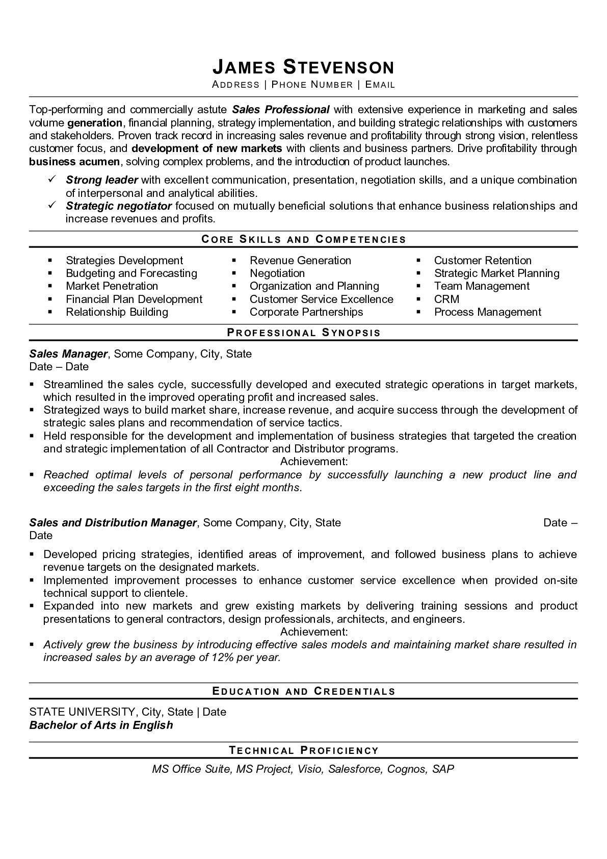 Resume Example for Sales