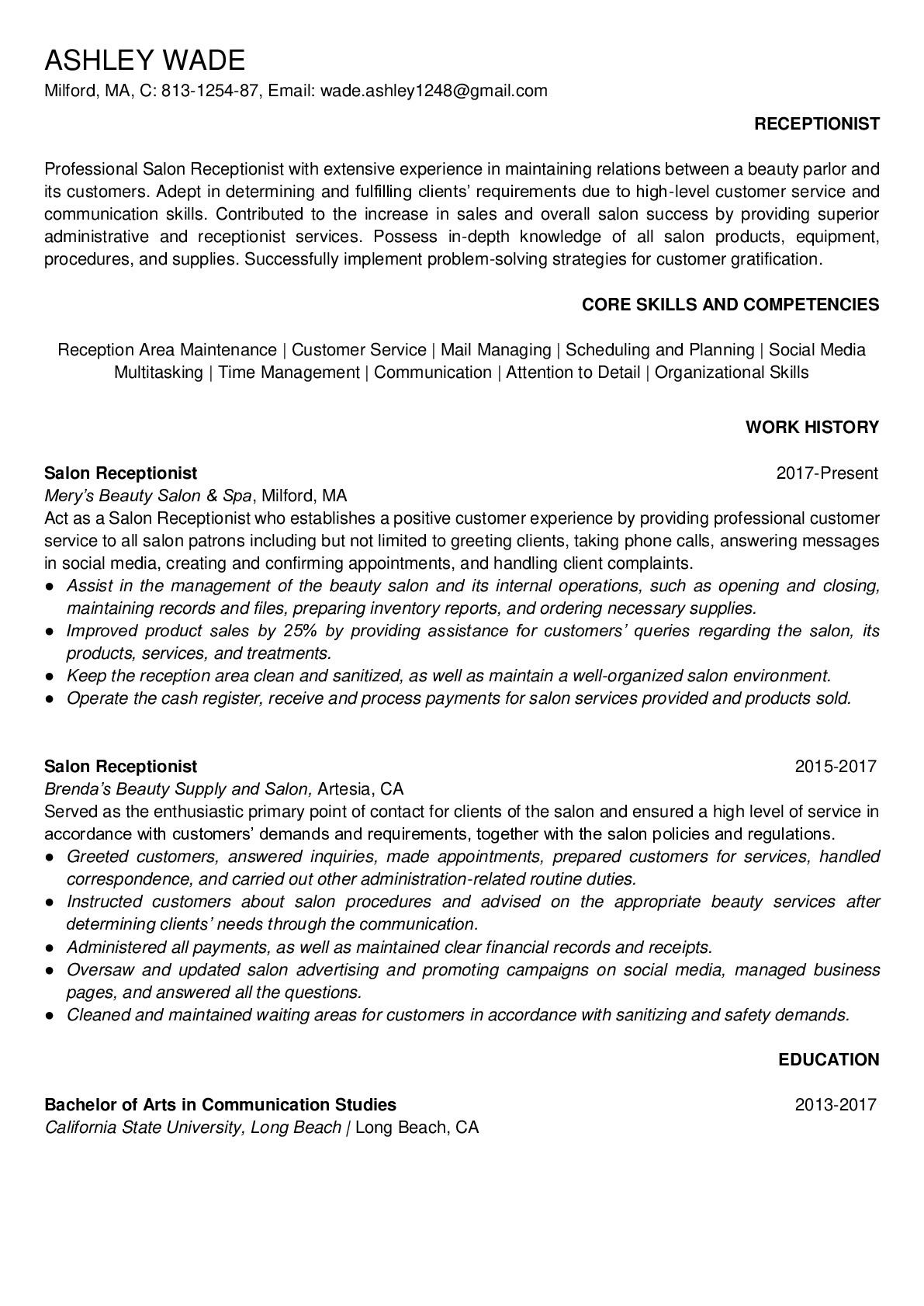 Resume for Salon Receptionist