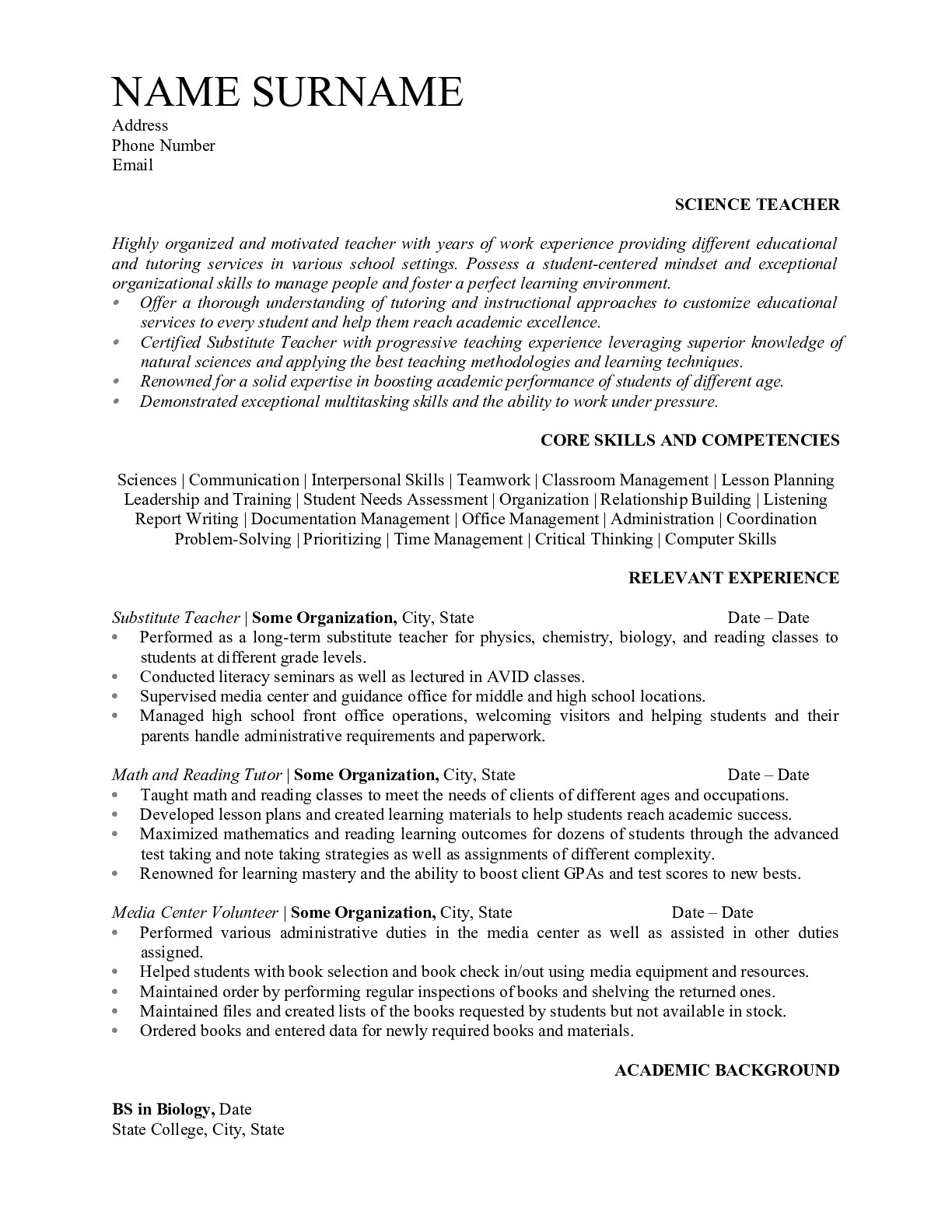 Science Teacher Resume Examples 2019 - ResumeGet.com