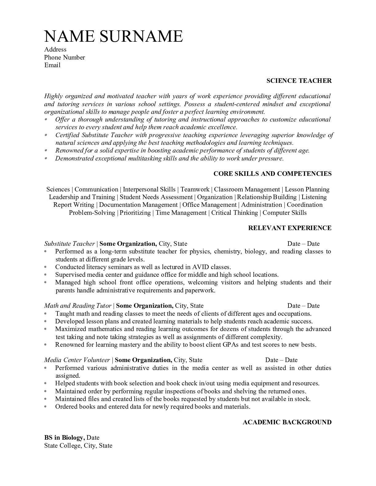 Resume for Science Teacher