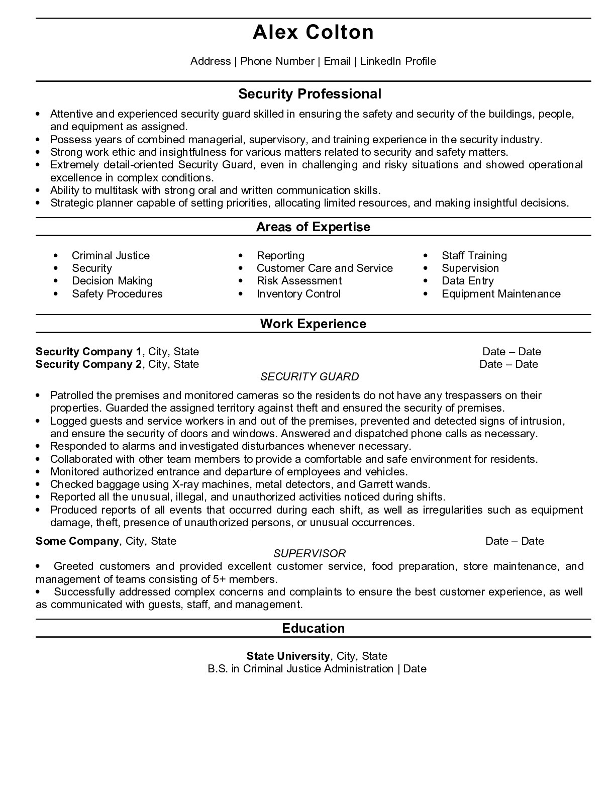 Resume Example for Security Guard