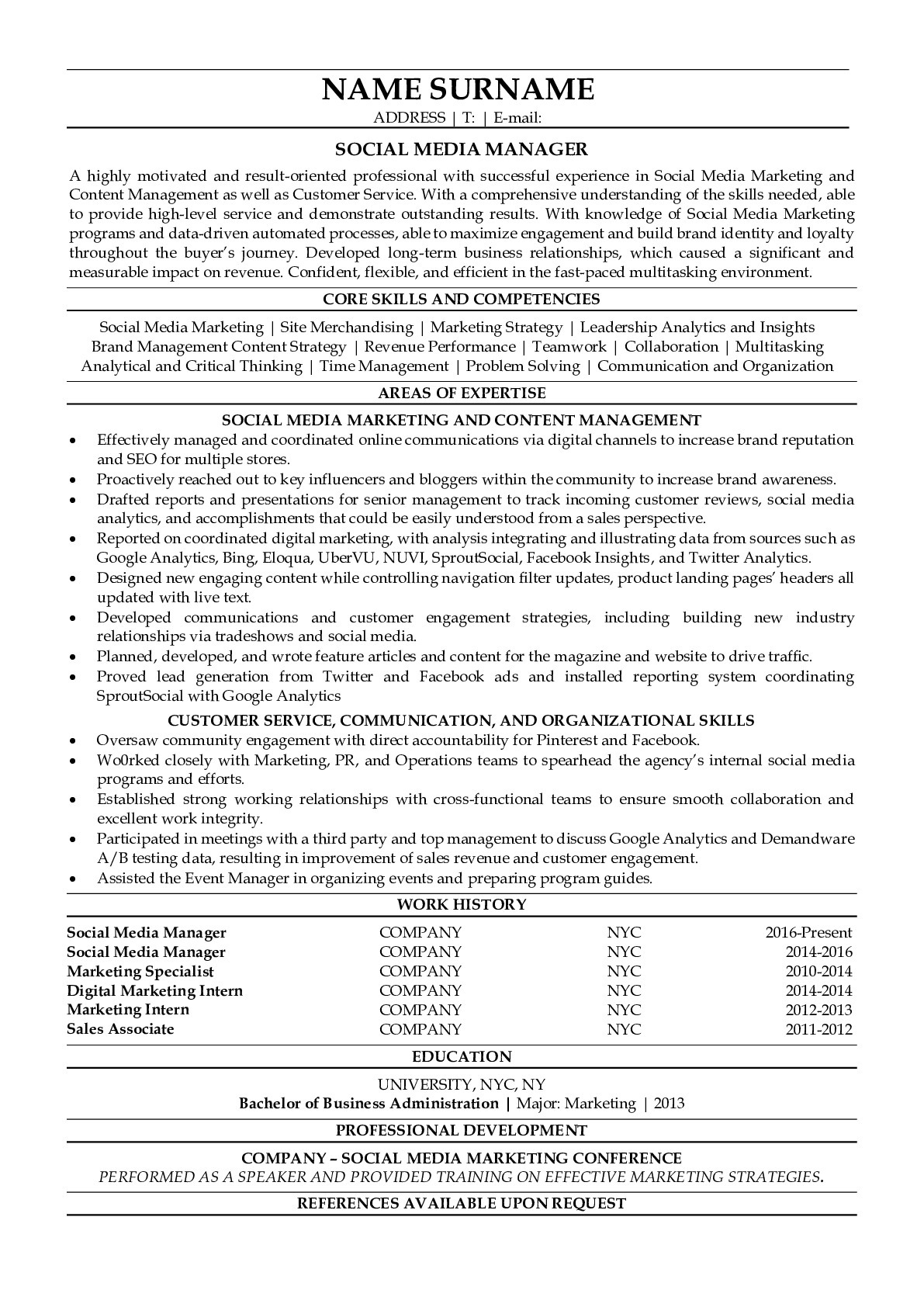 Resume Example for Social Media Manager