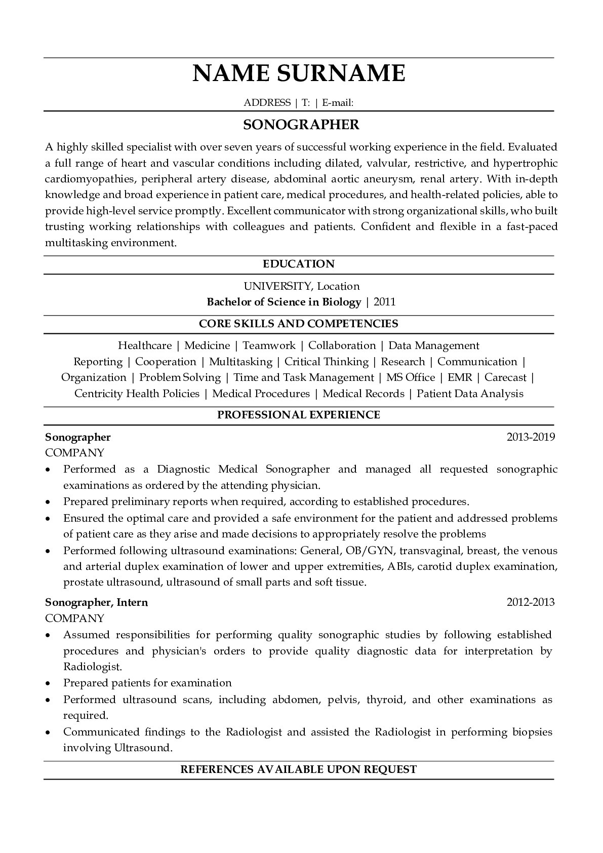 Resume Example for Sonographer