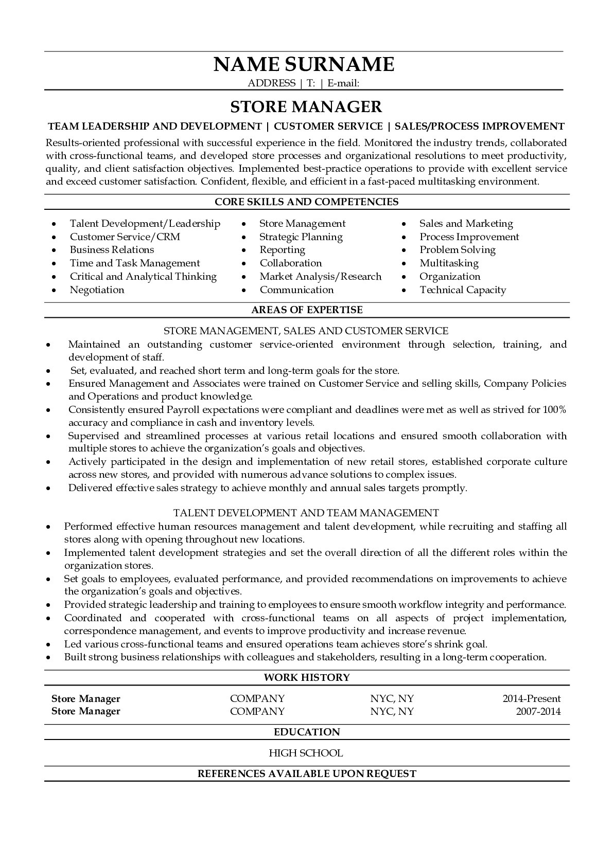 Resume for Store Manager