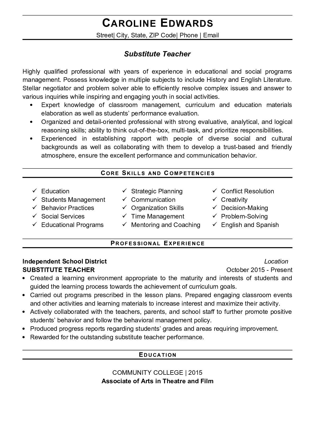Resume Example for Substitute Teacher