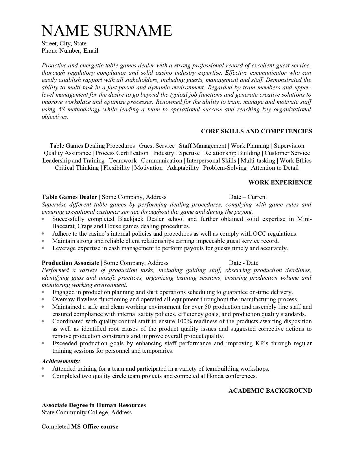 Resume for Table Game Dealer