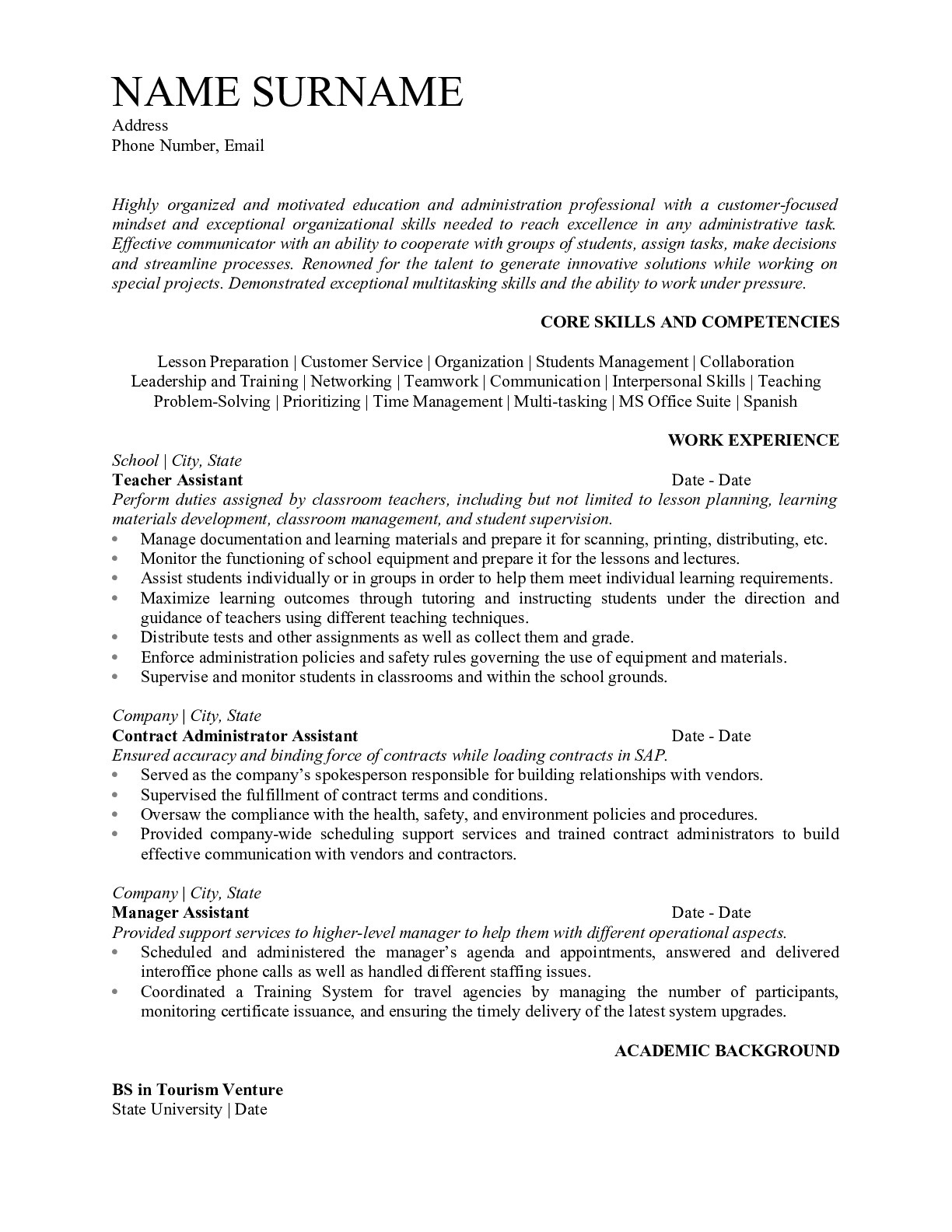 Resume Example for Teacher Assistant