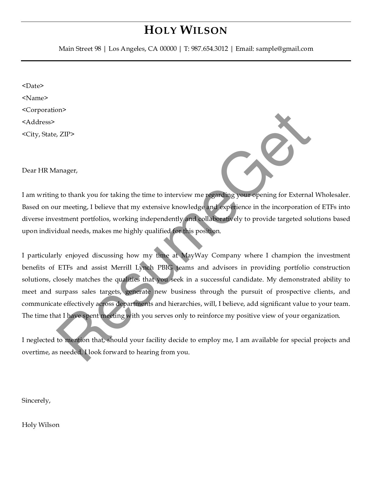 Thank You Letter for External Wholesaler