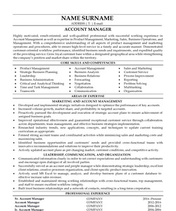 Resume Example for Account Manager