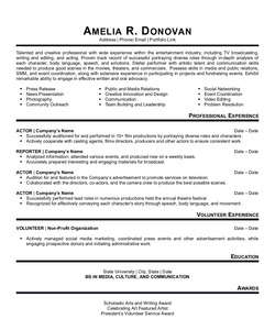 Resume Example for Actor