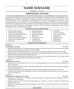 Resume for Administrative Assistant
