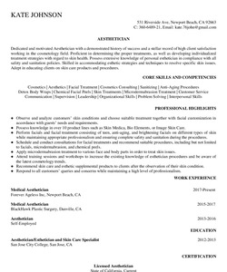Resume Example for Aesthetician