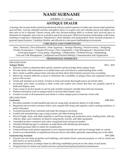 Resume Example for Antique Dealer