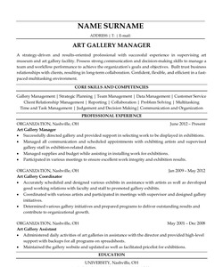 Resume for Art Gallery Manager