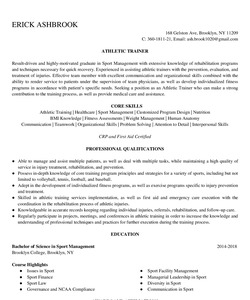 Resume for Athletic Trainer