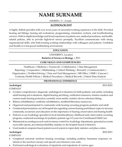 Resume for Audiologist
