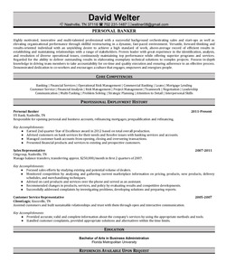 Resume Example for Banker