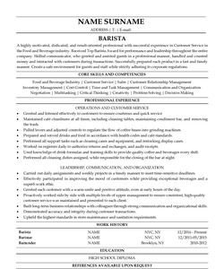 Resume for Barista