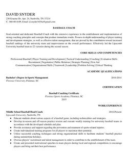 Resume Example for Baseball Coach