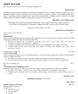 Resume Example for bookkeeper